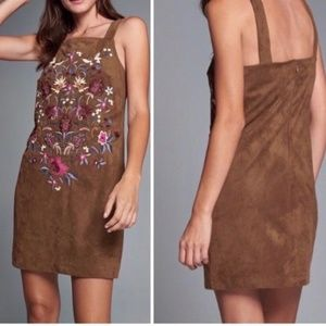ABERCROMBIE & FITCH FAUX SUEDE DRESS EMBROIDERED